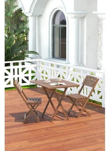 Meya Dekor Balkon - Bahçe 3'lü Katlanabilir Bistro Set 2 Sandalye 1 Bahçe 60x80 Cm Masa Kahve